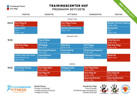 Stundenplan Trainigscenter HOF 2017/2018 Fuchsberger Fitness