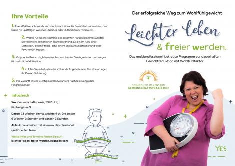 Gewichtsreduktion - Gruppe ab 30.10.2017 - Leichter leben freier werden Fuchsberger Fitness