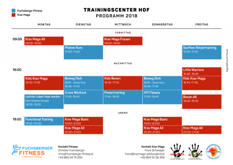 Stundenplan Trainigscenter HOF 2018 Fuchsberger Fitness