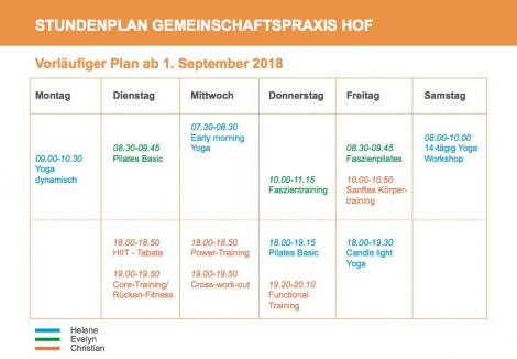 Neue Kursangebote ab September 2018 in der Gemeinschafspraxis HOF