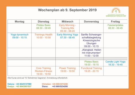 Wochenplan ab . 1 Oktober 2019
