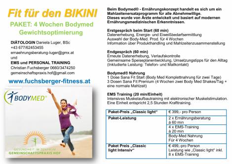 Fit für den BIKINI - PAKET: 4 Wochen Bodymed Gewichtsoptimierung  in der Gemeinschafspraxis HOF