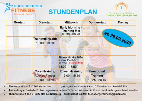 Wochenplan Fuchsberger Fitness ab 29.09.2020