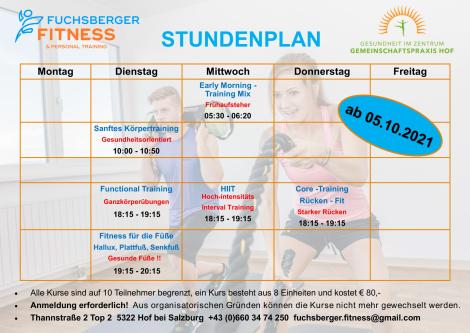 Wochenplan Fuchsberger Fitness ab 05.10.2021